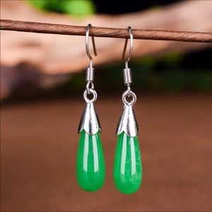 Sterling emerald hook earrings